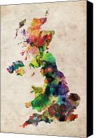 Wales Digital Art Canvas Prints - United Kingdom Watercolor Map Canvas Print by Michael Tompsett