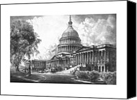 Us Capital Mixed Media Canvas Prints - United States Capitol Building Canvas Print by War Is Hell Store