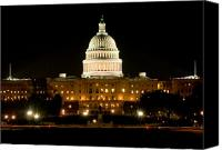 D.c. Digital Art Canvas Prints - United States Capitol grounds at night Canvas Print by Don Lovett