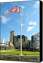 Flag Pole Canvas Prints - University Hospital Canvas Print by Robert Harmon