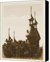 Universities Digital Art Canvas Prints - University of Tampa Minarets with Old Postcard Framing Canvas Print by Carol Groenen