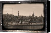 Universities Digital Art Canvas Prints - University of Tampa with Old World Framing Canvas Print by Carol Groenen