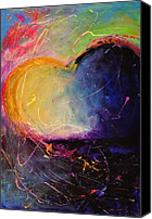 Sunset Mixed Media Canvas Prints - Unrestricted Heart Sunset Colors Canvas Print by Johane Amirault