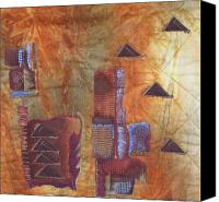 Brown Abstract Tapestries - Textiles Canvas Prints - Untitled Abstract Canvas Print by Judy Sauer