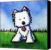 Dog Art Canvas Prints - Untitled Westie Canvas Print by Kim Niles