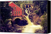 Old Mills Canvas Prints - Up River at the Old Mill Canvas Print by Carol Hathaway