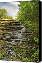 Alger Falls Canvas Prints - Upper Au Train Falls Canvas Print by Michael Peychich