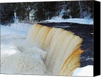 Michigan Waterfalls Canvas Prints - Upper Tahquamenon in Winter Canvas Print by Michael Peychich
