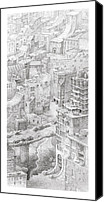 Ruins Drawings Canvas Prints - Uptown Trail Canvas Print by Mathew Borrett