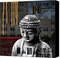 Taxi Canvas Prints - Urban Buddha  Canvas Print by Linda Woods