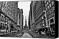 Black And White Canvas Prints - Urban Canyon - Philadelphia City Hall Canvas Print by Bill Cannon