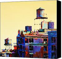 Architecture Painting Canvas Prints - Urban Rooftops Canvas Print by Patti Mollica