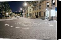 Roundabout Canvas Prints - Urban Roundabout in East London at Night Canvas Print by John Harper