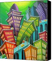 Humor. Painting Canvas Prints - Urban Vertigo Canvas Print by Eva Folks