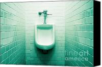 Bathroom Canvas Prints - Urinal in mens restroom. Canvas Print by John Greim