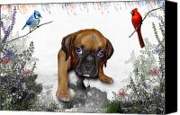 Red Cardinal Canvas Prints - Ursula Uma and the Underdog Canvas Print by Julie L Hoddinott