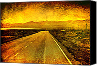 Textured Landscape Canvas Prints - US 50 - The Loneliest Road in America Canvas Print by Ellen Lacey