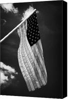 Flagpole Canvas Prints - Us American Flag On Flagpole Against Blue Cloudy Sky Usa Canvas Print by Joe Fox