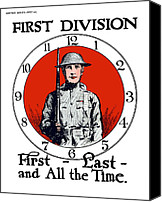 One Mixed Media Canvas Prints - US Army First Division Canvas Print by War Is Hell Store