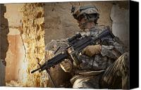 Afghanistan Canvas Prints - U.s. Army Ranger In Afghanistan Combat Canvas Print by Tom Weber