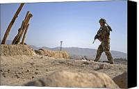 Foot Patrol Canvas Prints - U.s. Army Soldier On A Foot Patrol Canvas Print by Stocktrek Images