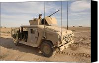 M1114 Canvas Prints - U.s. Army Soldier Pulls Security On Top Canvas Print by Stocktrek Images