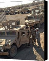 M1114 Canvas Prints - U.s. Army Soldier Speaks With Iraqi Canvas Print by Stocktrek Images