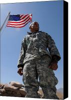 American Flags Canvas Prints - U.s. Army Soldier Taking In The Sun Canvas Print by Stocktrek Images