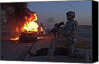 Second Gulf War Canvas Prints - Us Army Soldier Yells For A Medic Canvas Print by Everett