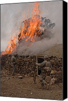 Insurgency Canvas Prints - U.s. Army Soldiers Burn Down A Taliban Canvas Print by Everett
