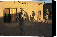 Foot Patrol Canvas Prints - U.s. Army Soldiers Conduct A Dismounted Canvas Print by Stocktrek Images
