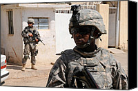 Second Gulf War Canvas Prints - Us Army Soldiers On Patrol In Kirkuk Canvas Print by Everett