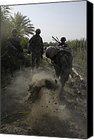 Insurgency Canvas Prints - Us Army Soldiers Search For Buried Canvas Print by Everett