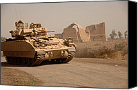 Second Gulf War Canvas Prints - Us Bradley Fighting Vehicle Passes Canvas Print by Everett