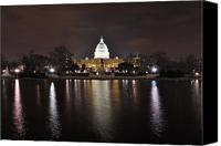 Washington Dc Canvas Prints - U.S. Capitol at Night Washington DC Canvas Print by Wayne Higgs
