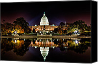 Colorfull Canvas Prints - US Capitol Building and Reflecting Pool at Fall Night 1 Canvas Print by Val Black Russian Tourchin