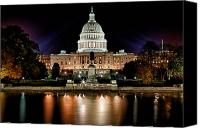 Colorfull Canvas Prints - US Capitol Building and Reflecting Pool at Fall Night 3 Canvas Print by Val Black Russian Tourchin
