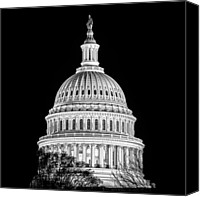 Washington Dc Canvas Prints - US Capitol Dome in Black and White Canvas Print by Val Black Russian Tourchin