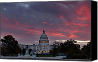 Freedom Photo Canvas Prints - US Capitol - Pink Sky Getting Ready Canvas Print by Metro DC Photography