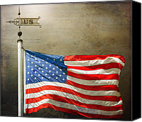 Flagpole Canvas Prints - US Flag Canvas Print by Steven  Michael
