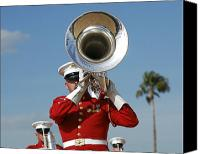Brass Band Canvas Prints - U.s. Marine Corps Drum And Bugle Corps Canvas Print by Stocktrek Images