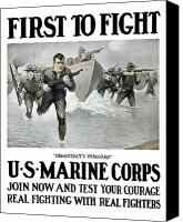 Vintage Canvas Prints - US Marine Corps First To Fight  Canvas Print by War Is Hell Store