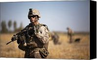 Foot Patrol Canvas Prints - U.s. Marine During A Security Patrol Canvas Print by Stocktrek Images