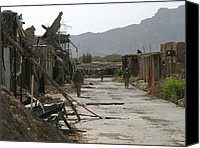 Insurgency Canvas Prints - U.s. Marines Conduct A Patrol Canvas Print by Everett