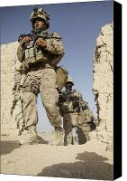 Foot Patrol Canvas Prints - U.s. Marines Leaving Their Forward Canvas Print by Stocktrek Images