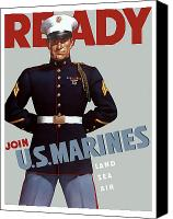 Store Digital Art Canvas Prints - US Marines Ready Canvas Print by War Is Hell Store