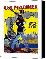Blues Digital Art Canvas Prints - U.S. Marines Service On Land And Sea Canvas Print by War Is Hell Store