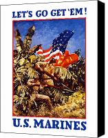 Vintage Canvas Prints - US Marines Canvas Print by War Is Hell Store