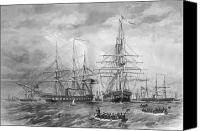 Battles Canvas Prints - U.S. Naval Fleet During The Civil War Canvas Print by War Is Hell Store