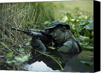 Scarf Photo Canvas Prints - U.s. Navy Seal Crosses Through A Stream Canvas Print by Tom Weber